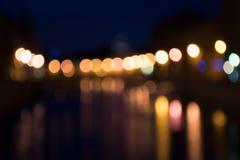 Verlichte Lichten Als achtergrond Royalty-vrije Stock Foto's