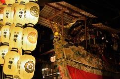 Verlichte nacht van Gion-festival in Kyoto, Japan Royalty-vrije Stock Afbeeldingen