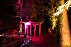 Verlichte Pagode bij Nacht Stock Foto's