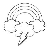Verlichting en wolk met zwart-witte regenboog stock illustratie