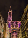 Verlichting van de Kathedraal van Straatsburg, Frankrijk Royalty-vrije Stock Foto