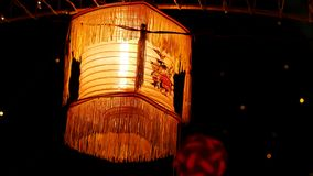 Verlichtingsdecoratie in een festival voor achtergrondgebruik Stock Foto's
