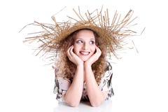 Verliebtes junges Mädchen - Frau lokalisiert auf weißem Hintergrund Lizenzfreie Stockfotos