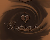 Verliefd behang op chocoladeachtergrond Stock Fotografie