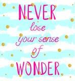 ` Verlieren NIE Ihre Richtung des WUNDER ` Handschriftlichen Textes auf Hintergrund mit Schmutz farbigen Streifen und des Funkeln stock abbildung