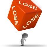 Verlieren Sie die Würfel, die Niederlage und Verlust darstellen vektor abbildung