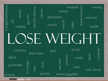 Verlieren Sie Gewichts-Wort-Wolken-Konzept auf einer Tafel Stockbilder