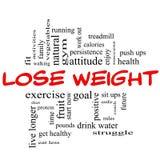Verlieren Sie Gewichts-Wort-Wolken-Konzept im Rot u. im Schwarzen Stockbild