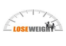 Verlieren Sie Gewichttext mit Dumbbell und belasten Sie Skala Stockfotografie