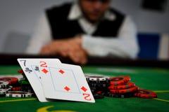 Verlierende Hand im Poker Stockfoto