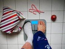 Verlierendes Gewicht nach den Feiertagen Stockfoto