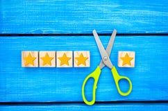 Verlies van de vijfde ster Niet succesvolle Zaken Overzicht van hotel, koffie verslechtering van de classificatie en de kwaliteit royalty-vrije stock afbeeldingen