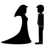 Verlobt- und Verlobtbräutigam und heiratsfähiges Mädchen stock abbildung