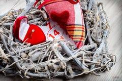 Verlobungsring, Herz, Kalender am 14. Februar ein Geschenk für Valent Lizenzfreies Stockfoto