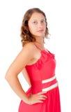 Verlockende blonde Frau mit rotem Kleid Lizenzfreies Stockfoto
