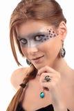 Verlockende schauende Mädchen-Türkis-Topasedelsteinhalskette Stockfoto