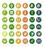 Verlof vlakke pictogrammen Stock Foto's