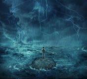 Verloren im Ozean Stockbild