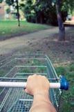 Verloren met boodschappenwagentje in park Royalty-vrije Stock Foto's