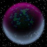 Verloren planeet in de verre hoek van heelal Een planeet met het shinning van ergens verborgen atmosfeer Stock Afbeelding