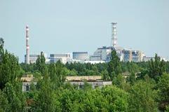 Verloren stad Pripyat en de krachtcentrale van Tchernobyl Stock Fotografie