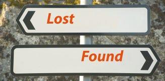 Verloren und gefunden. Stockfotos