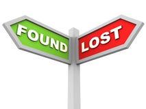 Verloren und gefunden Stockbild