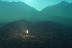 Verloren vrouw in de woestijn Royalty-vrije Stock Afbeelding