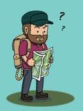 Verlorener Mann, der Karte hält Stockfotografie