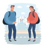 Verlorener touristischer schauender Stadtplan auf einer Reise Reisender, welche nach Richtungen sucht Stock Abbildung