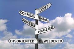 Verlorener und konfuser Signpost Lizenzfreie Stockfotos