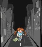 Verlorenes Mädchen in der großen Stadt Lizenzfreies Stockfoto