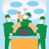 Verloskundige team en arts die een baby in de leveringsruimte houden vector illustratie
