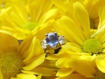 Verlovingsring in Gele Mums Stock Afbeeldingen