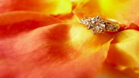 Verlovingsring op Roze Bloemblaadjes stock afbeelding