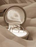 Verlovingsringen in een doos Royalty-vrije Stock Afbeeldingen