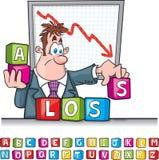 Verlust blockiert Karikatur Stockfotos