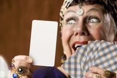 Vermögens-Erzähler mit unbelegter Tarot Karte Stockbild
