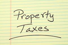 Vermögenssteuern auf einem gelben Kanzleibogenblock Lizenzfreie Stockbilder