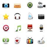 Vermaak en film geplaatste pictogrammen Stock Afbeelding