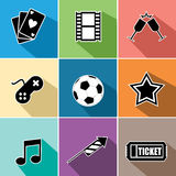Vermaakpictogrammen geplaatst vlak ontwerp Royalty-vrije Stock Afbeelding