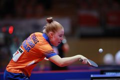 VERMAAS Kim from Nederlands backhand Royalty Free Stock Photos