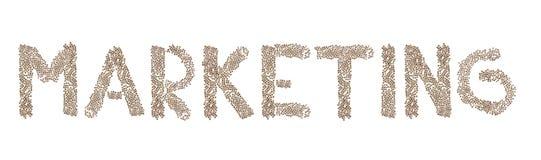 Vermarkten geschrieben mit kleinen Würfeln Lizenzfreies Stockfoto