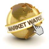 Vermarkten Sie Uhrsymbol mit goldenen Kugel und der Hand Lizenzfreies Stockfoto