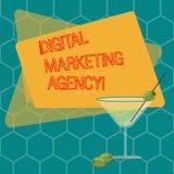 Vermarktende Agentur Wortschreibenstext Digital Geschäftskonzept für Hilfsgeschäft in genauem Zielgruppen gefülltem Cocktail sich stock abbildung