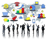 Vermarktende globales Geschäfts-Wachstums-Werbungs-Werbekonzeption Stockbilder