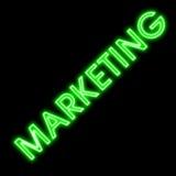 Vermarktende grüne Leuchtreklame Retro- Lizenzfreie Stockfotos