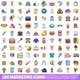 100 vermarktende Ikonen eingestellt, Karikaturart Lizenzfreie Stockbilder
