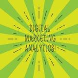Vermarktender Analytics Handschriftstext Digital Konzeptbedeutungsmaßnahme Geschäfts-Metrik wie Verkehr und Führungen dünne Strah lizenzfreie stockfotografie