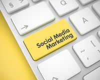 Vermarktendes Social Media - gelber Tastatur-Knopf 3d Stockfotos